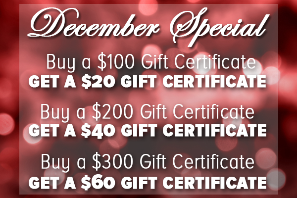 December Gift Certificate Special